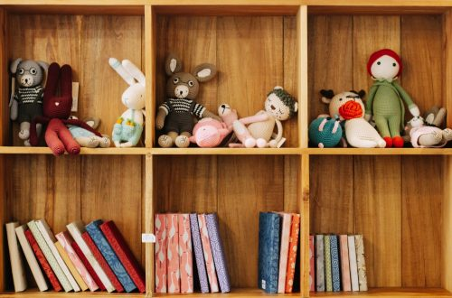 assorted animal plush toys on brown wooden shelf