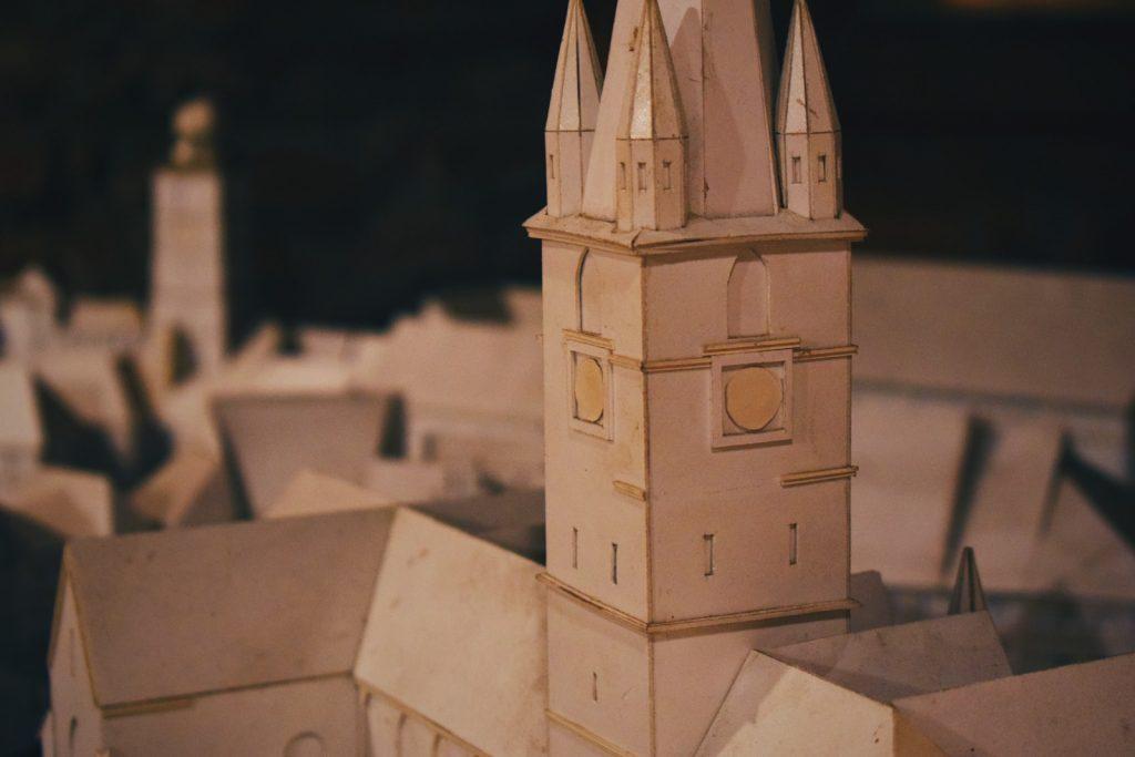 closeup photo of white castle miniature