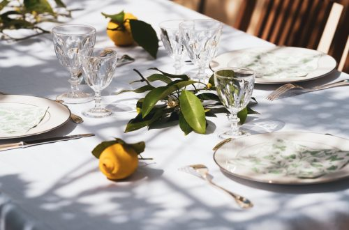 yellow fruit on white table cloth